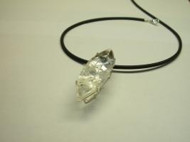 Anhänger, 925/- Silber, Bergkristall mit Turmalineinschlüssen
