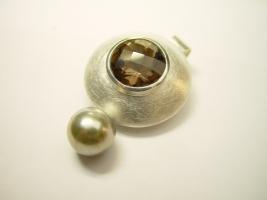 Anhänger, 925/- Silber, Rauchquarz, Tahitiperle