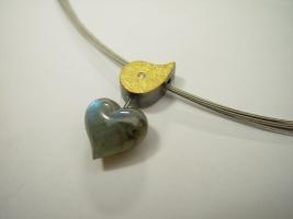 Anhänger, Labradoritherz, 925/- Silber, 900/- Gold, Brillant, beidseitig tragbar