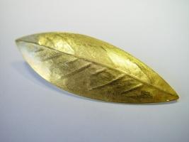 Blattbrosche, 925/- Silber, 900/- Gold