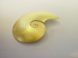 Schneckenbrosche, 925/- Silber, 900/- Gold