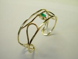 Armreif, 585/-Gold, Smaragd