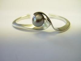 Armreif, 925/- Silber, Tahitiperle