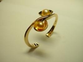 Armreif, 750/- Gold, Südseeperle