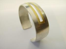 Armreif, 925/- Silber mit Feingold