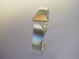 Armreif, 925/- Silber, 750/- Rotgold, Brillanten