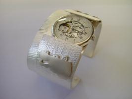 Armreif, 925/- Silber mit Uhr zum einklicken