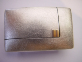 Gürtelschließe, 925/- Silber, Palladium, Feingold