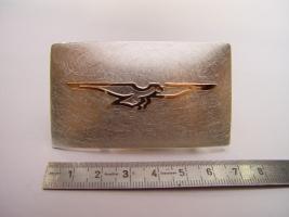 """Gürtelschließe """" MotoGuzzi"""", 925/- Silber, 585/- Rotgold"""