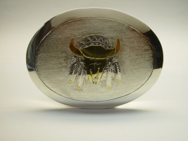 "Gürtelschließe, 925/- Silber, teilvergoldet, ""Indianermotiv"""
