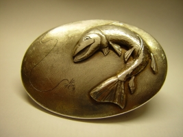 Gürtelschließe, 925/- Silber, Angelmotiv