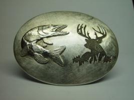 Gürtelschließe, Silber, Jagdmotive