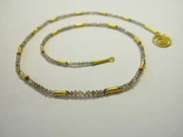 naturbraune Diamantkette, 900/- Gold