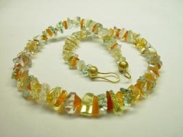 Bergkristall, Prasiolith, Feueropal, Lemoncitrin, 750/- Gold