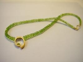 Peridotcollier, 750/- Gold