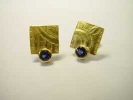 Ohrstecker, 925/- Silber, 900/- Gold, Safir,
