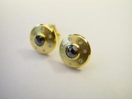 Ohrstecker, 585/- Gold, Brillanten, schwarzer Diamant