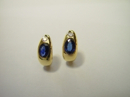 Ohrstecker, 750/- Gold, Safir, Brillant