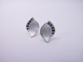 Ohrstecker, 925/- Silber, schwarze Diamanten