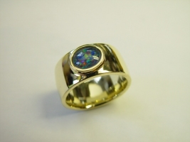 Ring, 585/- Gold, Opaltriplette