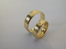 00014 Monogrammring, 750/- Rotgold, Brillanten