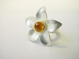 Blütenring,925/- Silber, Feingold, Mandaringranat