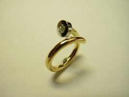 "Ring ""Nagel"", 750/- Gold, 960/- Platin, Radiant 0,22 ct"
