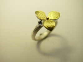 Ring, 925/- Silber, Feingold, Safir