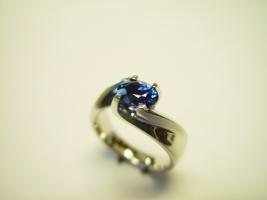 Ring, 960/- Platin, Safir