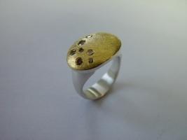 Ring, 925/- Silber, Feingold, Brillant naturfarben
