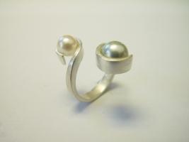 Ring, 925/- Silber, Süßwasserperle, Tahitiperle