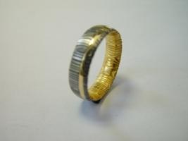Ring, Lagendamast, 750/- Gold, innen vergoldet