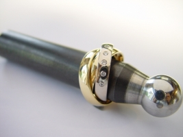 Ring, Dreiteilig, 750/- Gelb u. Weißgold, Brillanten