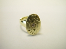 """""""Familienring"""", 585/- Gold, Brillant, Handgravur"""