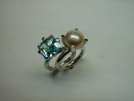 2 Ringe, 925/- Silber, Topas, Süßwasserperle