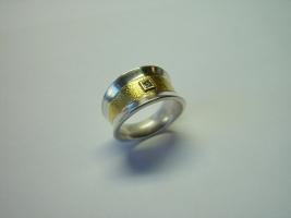 Ring, 925/- Silber, Feingold, Diamant naturfarben