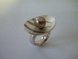 Ring, 925/-Silber, Palladium, Tahitiperle