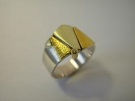Ring, 925/-Silber, Grüngold, Feingold, Brillant