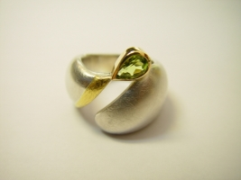 Ring, 925/- Silber, Feingold, Peridot