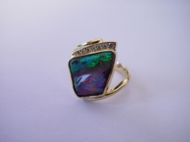 Ring, 750/- Gold, Schwarzopal, Brillanten