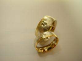 Trauringe, 750/- Gelb/Weiß, Diamant
