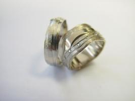 Trauringe , 585/- Weißgold, Brillanten