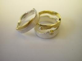 Trauringe, 925/- Silber, 900/- Gold, Süßwasserperle, Verlobungsring