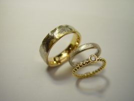 Trauringe,750/- Gelb/Weiß, Verlobungsring mit Brillant