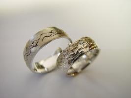 Trauringe, 925/- Silber mit Landschaftsrelief und Gravur, Brillanten