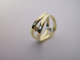 Witwenring, 585/- Gold, Brillant
