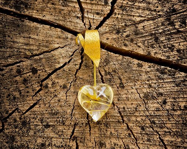 "Anhänger "" strahlendes Herz"", 925/- Silber,900/- Gold, 750/- Gold Rutilquarz"