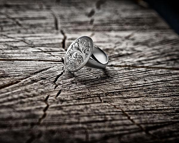 "Ring "" geheimes Siegel"", 925/- Silber, Handgravur"