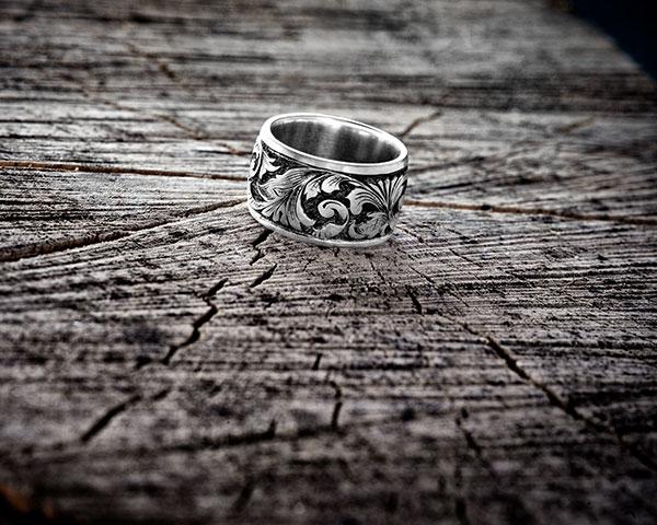"""Ring """" Akanthus"""", 925/- Silber, Handgravur"""