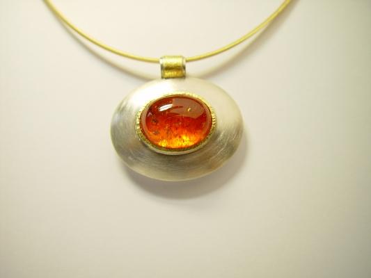 Anhänger-Mandarin-Granat-925-Silber-mit-Feingold